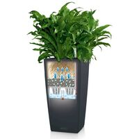 LECHUZA Planter Cubico Color 40 ALL-IN-ONE Slate 13158 - Black