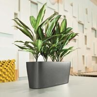 LECHUZA Table Planter Delta 20 ALL-IN-ONE Metallic Charcoal 15563 - Grey