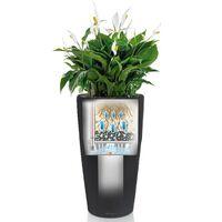 LECHUZA Planter Rondo 40 ALL-IN-ONE Charcoal Metallic 15743 - Grey