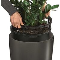 LECHUZA Planter Rondo 32 ALL-IN-ONE Charcoal Metallic 15783 - Grey