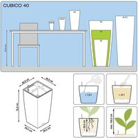 LECHUZA Planter Cubico 40 ALL-IN-ONE Charcoal 18194 - Grey
