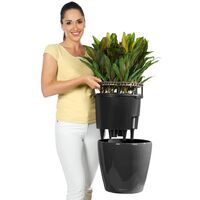 LECHUZA Planter Classico 43 LS ALL-IN-ONE Charcoal Metallic 16083 - Grey