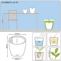 LECHUZA Planter Classico 43 LS ALL-IN-ONE Taupe High Gloss 16085 - Brown