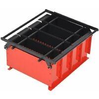 vidaXL Paper Log Briquette Maker Steel 38x31x18 cm Black and Red - Red