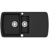 vidaXL Granite Kitchen Sink Double Basin Black - Black