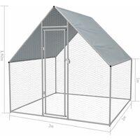 vidaXL Outdoor Chicken Cage 2x2x1.92 m Galvanised Steel - Silver