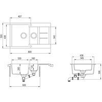 vidaXL Granite Kitchen Sink Double Basin Grey - Grey