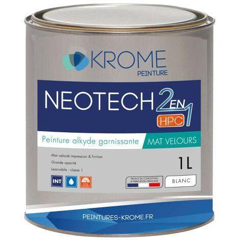 Peinture alkyde émulsion Krome Neotech Mat Velours 2 en 1 | Couleur: Blanc - Conditionnement: 1L