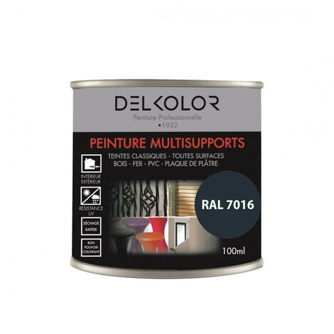 Peinture multisupports RAL 7016 Gris Moderne 100ml   Couleur: Gris anthracite RAL 7016