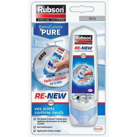 Re New Rubson - Rénovateur de joints Salle de bain et Cuisine 100ml | Couleur: Gris