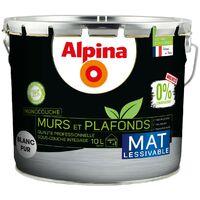 Alpina Peinture Murs et Plafonds 0% Conservateur Mat | Finition: Mat - Couleur: Blanc - Conditionnement: 10L