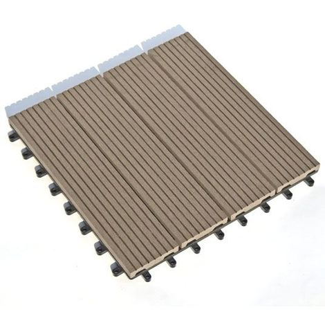 Dalle Terrasse Bois Composite clipsable - Chocolat - Lot de 11 dalles 30x30cm soit 1m²)