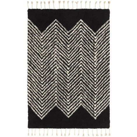 Tapis style Berbère avec franges - Arrow noir - 80 x 150 cm