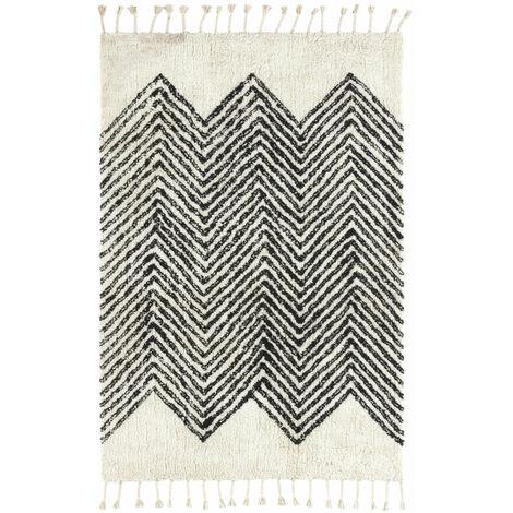 Tapis style Berbère avec franges - Arrow blanc cassé - 120 x 160 cm