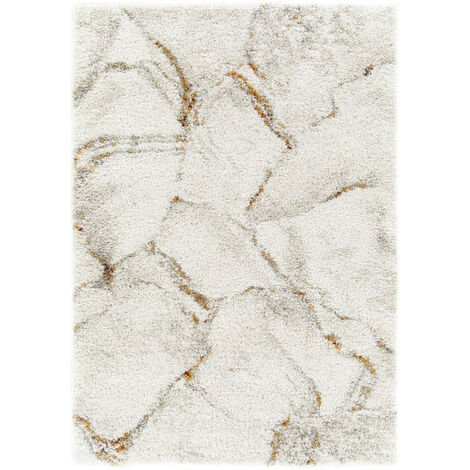 Tapis de salon - Marbré blanc - Veinage couleur - 80 x 150 cm
