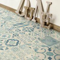 Tapis vinyle - Carreaux de ciment bleu - 100 x 160 cm