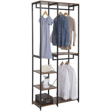 Garderoben- & Kleiderständer 4 Ablagen aus Holz & Metall schwarz-vintage