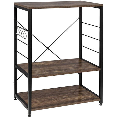 Standregal aus Holz & Metall mit 3 Ablagen für Küche schwarz-vintage