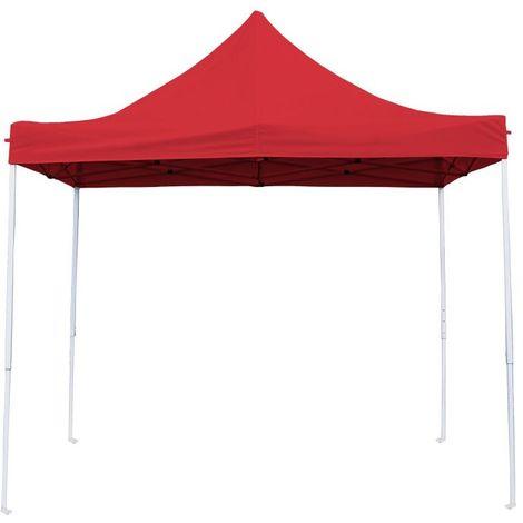 Tente Pliante Tonnelle de jardin 3x3m en Polyester 180g/m² + sac de transport Rouge - Rouge