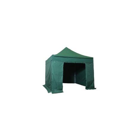 Tente pliante pergola tente de jardin tonnelle 3x3 M en Acier et Polyester 300g/m² Barnum avec bâches latéralesVert foncé - Vert foncé