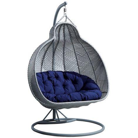 fauteuil suspendu de jardin en resine tressee 2 personnes mercure gris gris