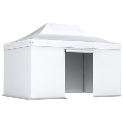Tente pliante pergola tente de jardin tonnelle 3x4.5 M en Acier et Polyester 300g/m² Barnum avec 4 bâches latérales Blanc - Blanc