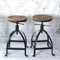 iKayaa tabouret de bar de style industriel ajustable avec assise en pin naturel - Bois