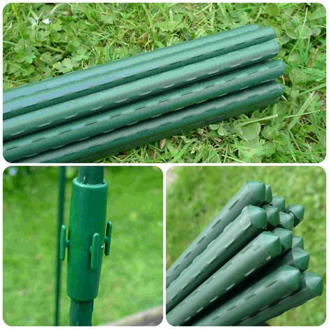 Garden Plant Stakes / Supports + Extension Connectors (Pack of 10 0.75m long x Ø11mm rods + 5 connectors)