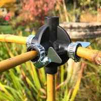 Bamboo Cane Connector Balls - Join Bamboo / Wooden Canes - Create Fruit Cages, Plant Supports, Garden Frames (Pack 4 Balls + 8 Clamps)