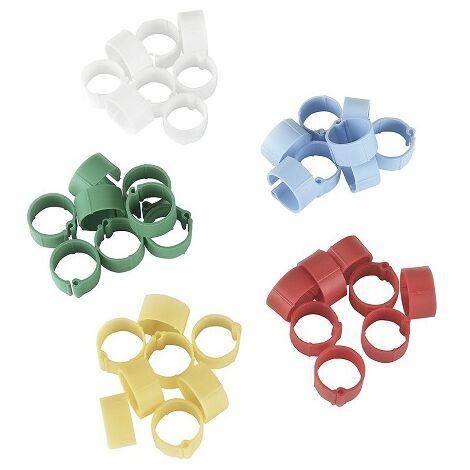 KERBL Anilla de Plástico para Identificación de Pollos, Pavos y Faisanes, Colores Variados, Ø 12 mm, Envase 100 uds