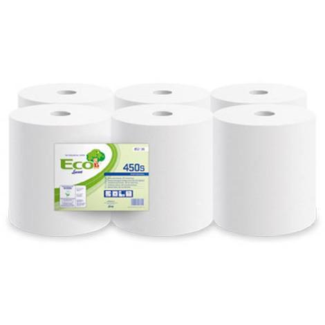 Bobine essuyage blanche 450 feuilles 20x30 gaufrée 2 plis Ecolabel Lot de 6
