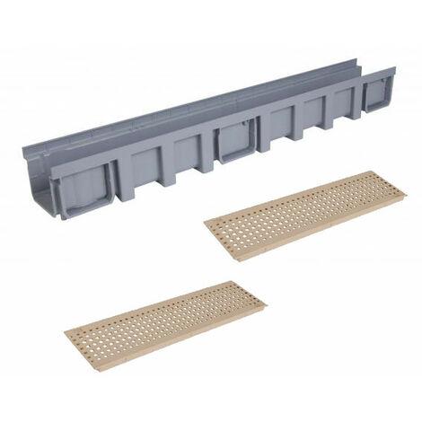Caniveau 1m grille piscine PVC A15 largeur 130 sable