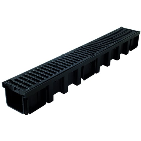 Caniveau 1m grille polyamide B125 largeur 130 noir