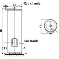 Chauffe-eau ATLANTIC Ø570 vertical stable mono BLINDE CHAUFFEO 300L