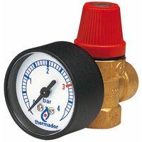 Soupape sécurité THERMADOR NF 3 bar-100kW + manomètre-F 1/2