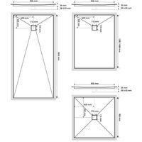 Receveur de douche VENISIO résine Gris ardoise grille carrée -1200x900