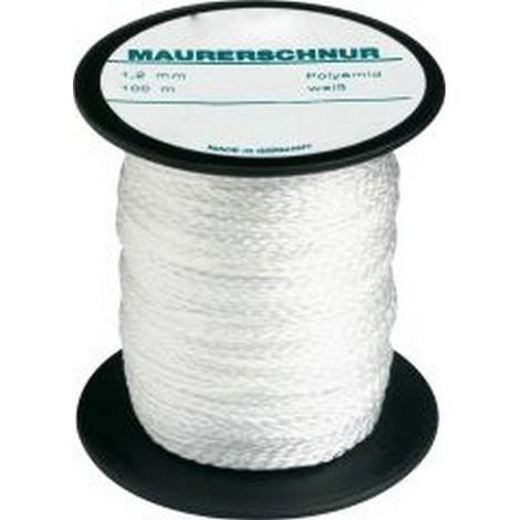 Cordeau de maçon, Perlon, Couleur : Blanc naturel, Long. 100 m, Résistance mécanique env. 80 kg, Ø : 1,7 mm