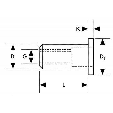 Ecrou à sertir aveugle a 50 unités M8x15 mm FORTIS