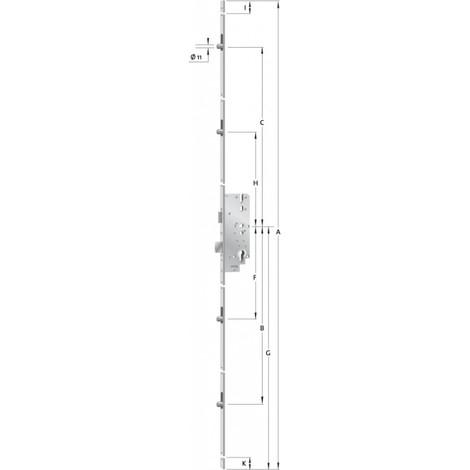 Verouillage multiple porte Nr.8772F Galv.