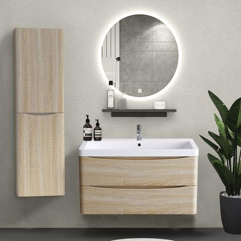 1400mm Left Hand Light Oak Effect Tall Cupboard Storage Cabinet Bathroom Furniture
