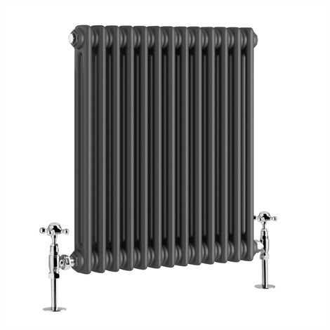 Traditional Cast Iron Style Anthracite Double Horizontal Radiator 600 x 605mm