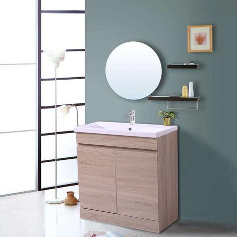 Light Oak Bathroom Vanity Sink Unit Basin Storage Cabinet Furniture 800mm