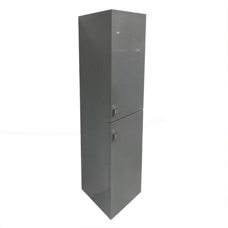 Gloss Grey 1400mm Tall Cupboard Wall Hung Cabinet Bathroom Furniture 2 Door