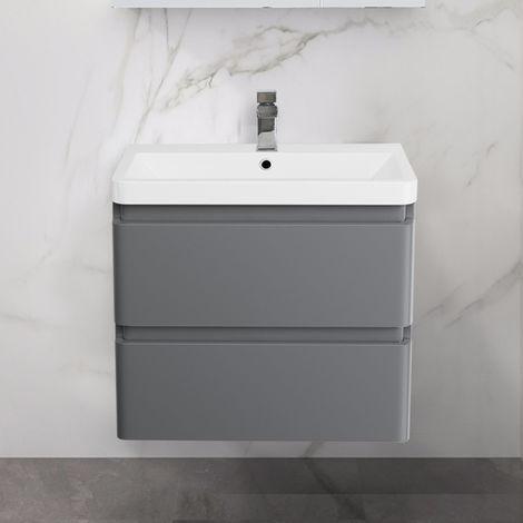 Wall Hung Drawer Vanity Unit Basin Bathroom Storage Furniture 600mm Gloss Grey