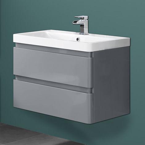 Wall Hung Drawer Vanity Unit Basin Bathroom Storage Furniture 800mm Gloss Grey