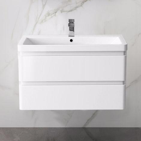 Wall Hung Drawer Vanity Unit Basin Bathroom Storage Furniture 800mm Gloss White