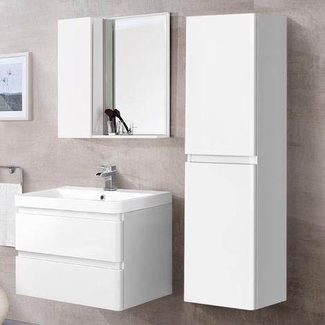 1400mm Tall Bathroom Storage Cabinet Cupboard Wall Hung Furniture Gloss White