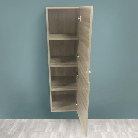 Grey Oak Effect 1200mm Tall Cupboard Wall Hung Cabinet Bathroom Furniture 2 Door