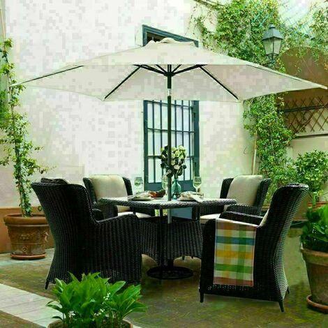 2.5M Round Garden Parasol Outdoor Patio Sun Shade Umbrella with Tilt Crank UV protection - Beige