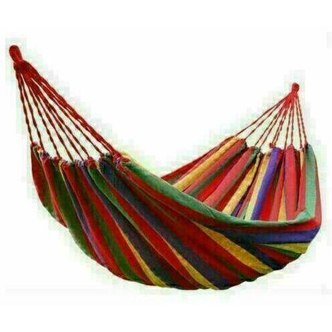 Canvas Hammock Portable Single Outdoor Garden Swing Camping Bed - Red